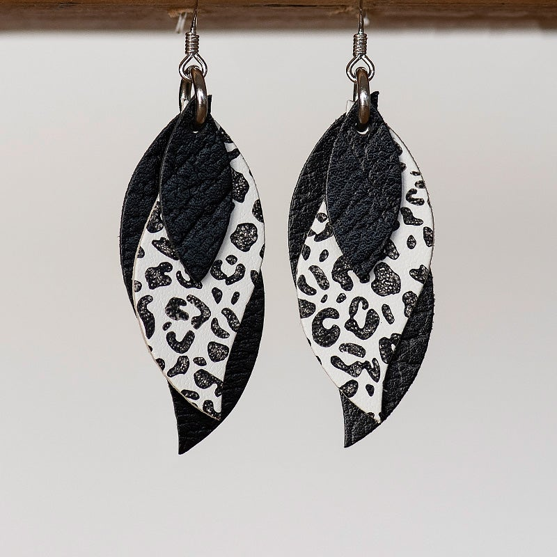 Image of NEW Handmade Australian leather leaf earrings - Textured black with black leopard on white [LLW-505]