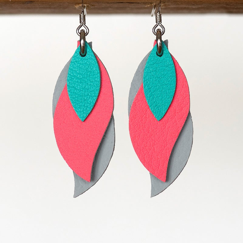 Image of Handmade Australian leather leaf earrings - Aqua, coral pink, grey [LAC-236]