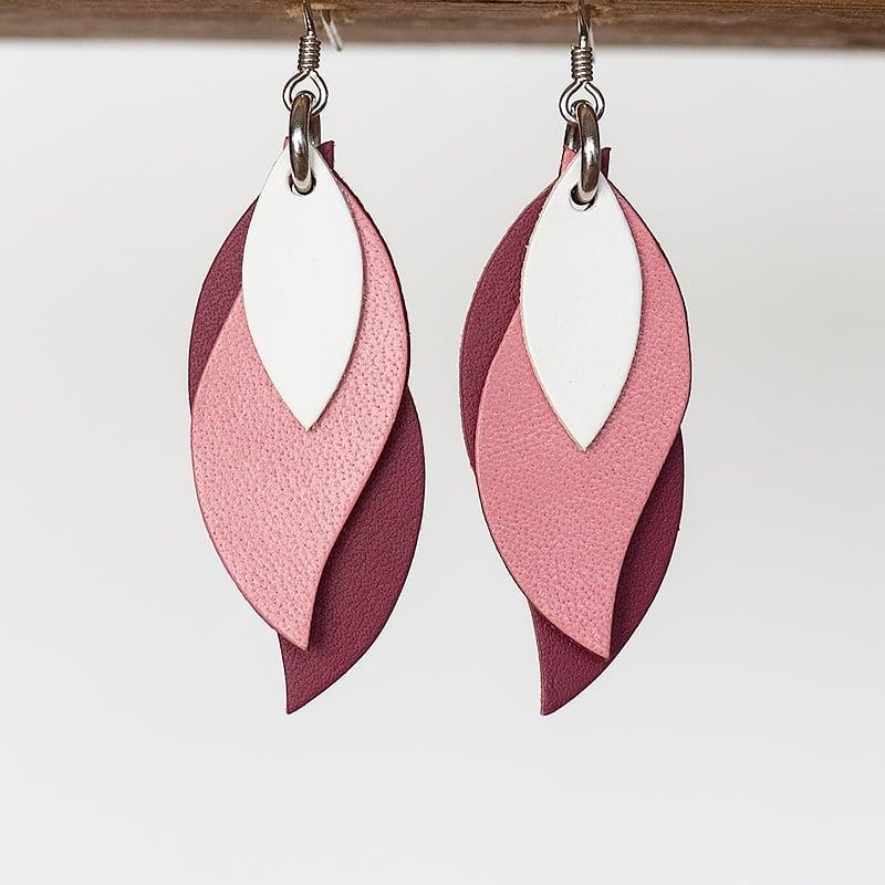 Image of Handmade Australian leather leaf earrings - White, pink, plum pink [LPK-136]