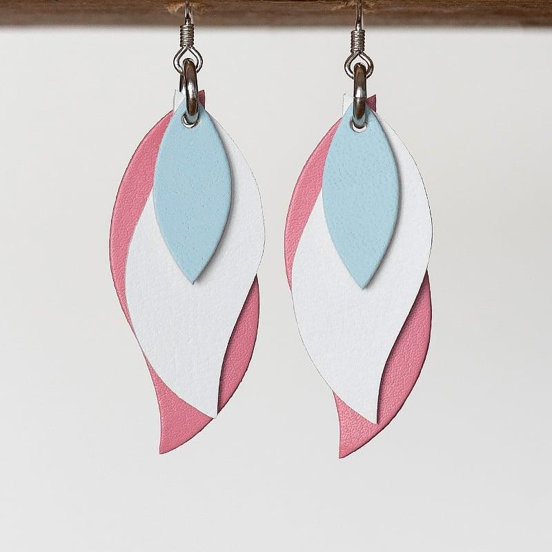 Image of Handmade Australian leather leaf earrings - Powder blue, white, pink [LBP-051]