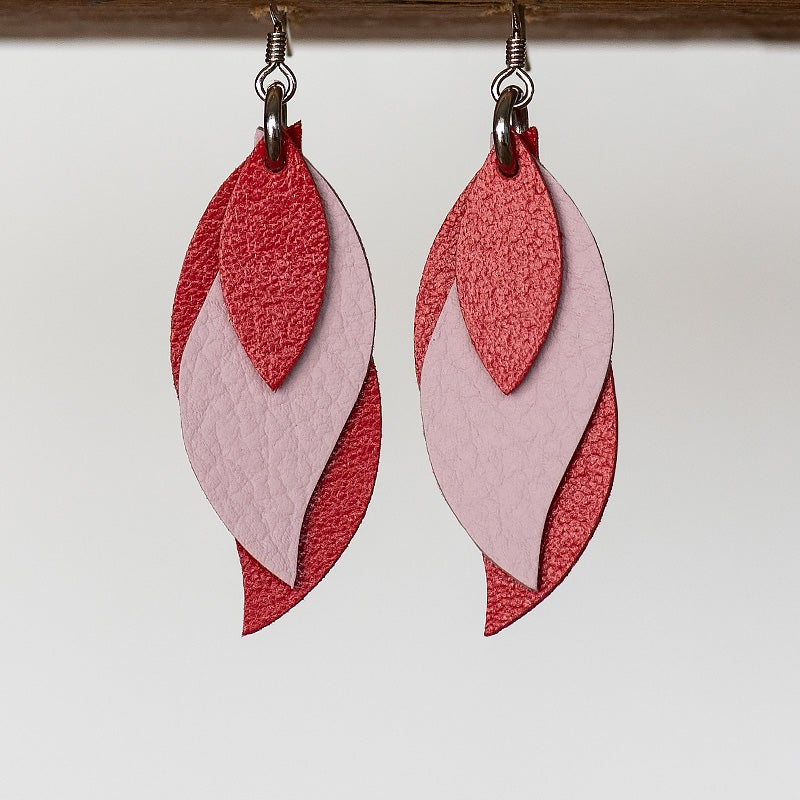 Image of Handmade Australian leather leaf earrings - Glossy red and soft pink [LPR-157]