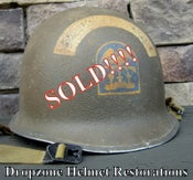 Image of WWII M1 Helmet Schlueter Front Seam ESB (Engineer's) NCO D-Day Normandy