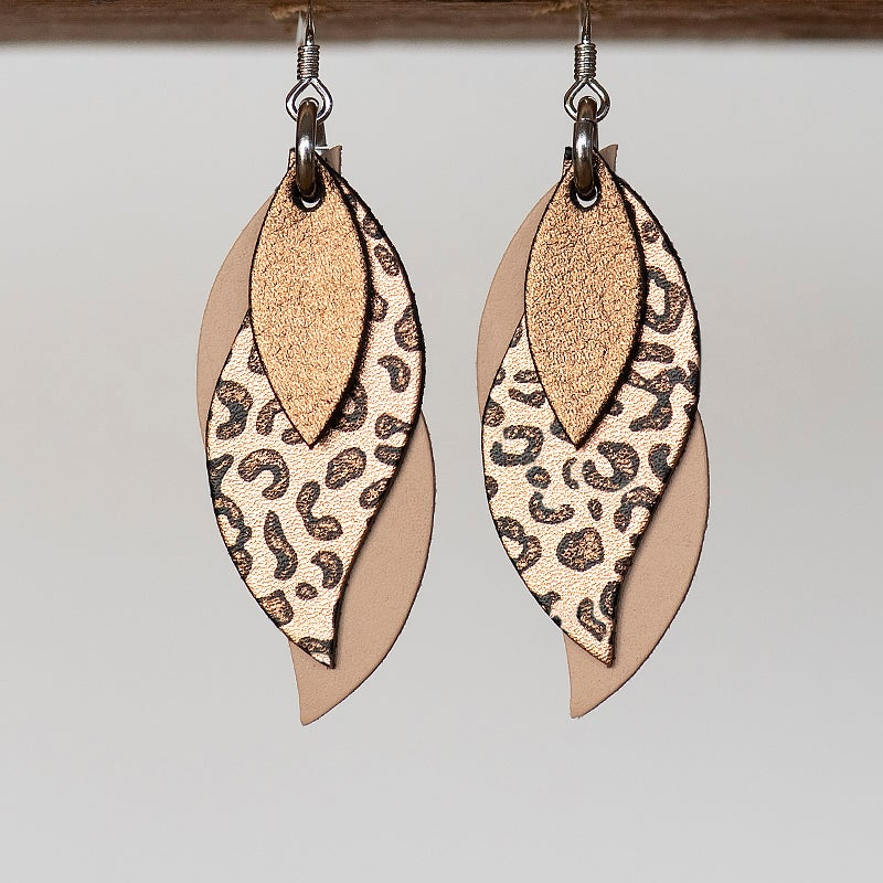 Image of NEW Handmade Australian leather leaf earrings - Dark bronze, black leopard copper, natural [LLC-507]