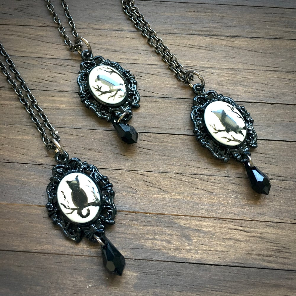 Magic Creatures Silhouette Cameo Necklace - Black Frame Featuring Owl, Cat or Raven
