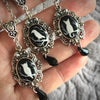 Magic Creatures Silhouette Cameo Necklace - Silver Frame Featuring Owl, Cat or Raven