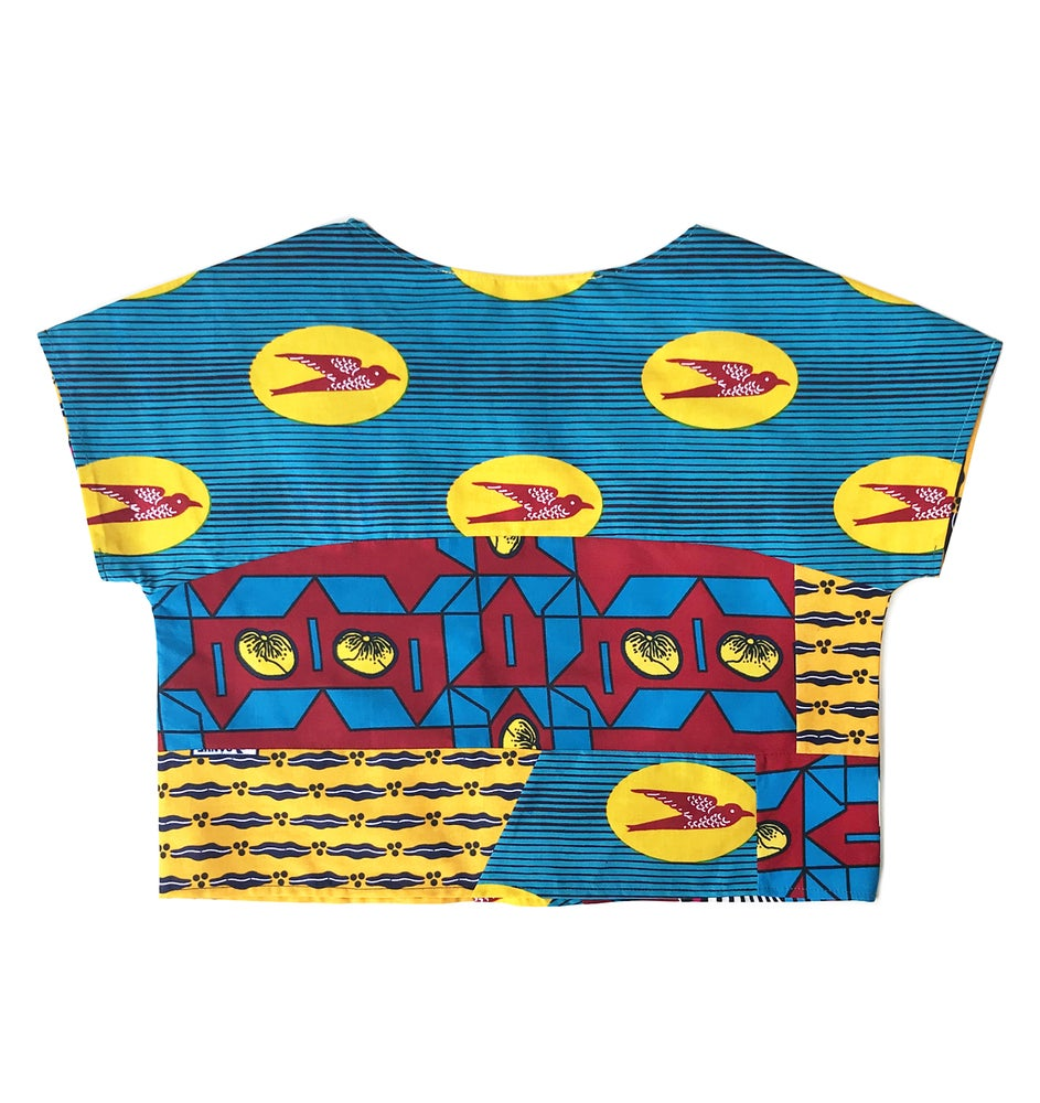 Image of Upcycled African wax patchwork top