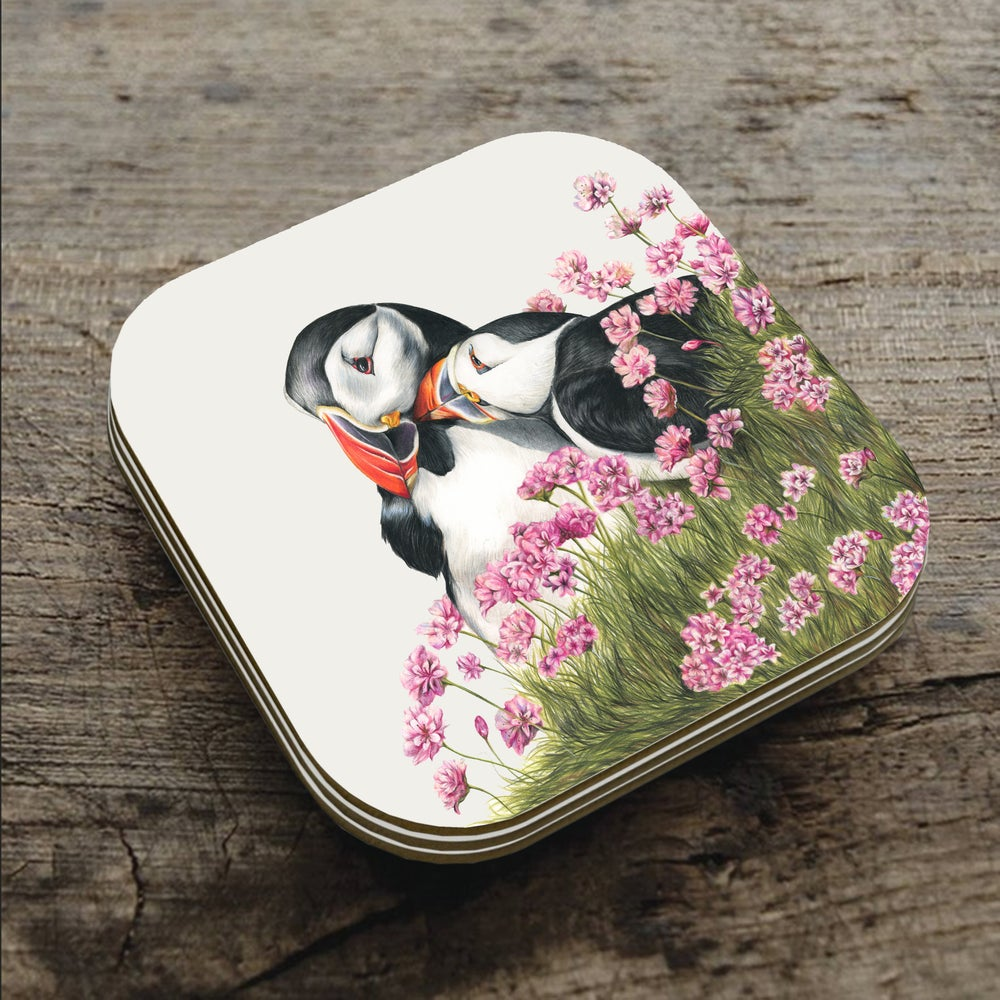 Image of 'Puffin Love' Coaster