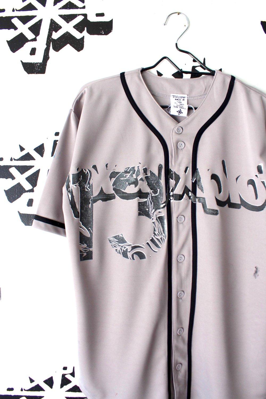 broken windows baseball jersey in gray