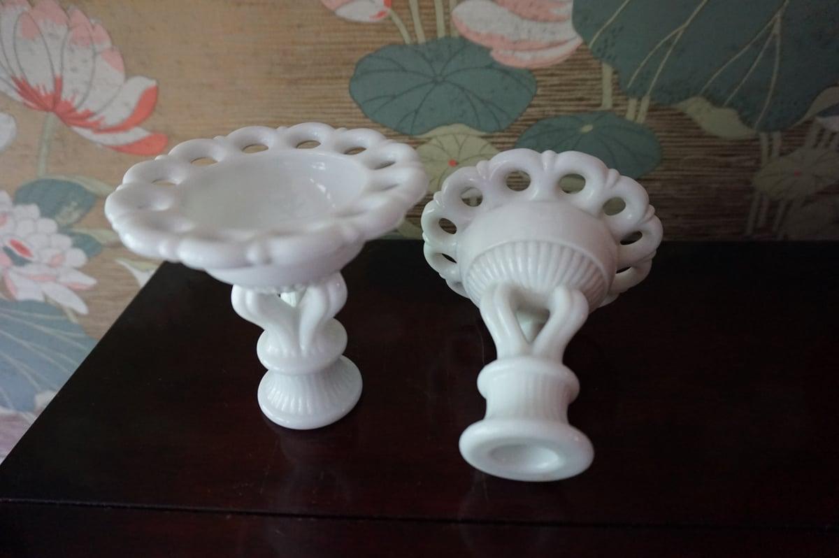 Image of Vintage Milk Glass Candlesticks