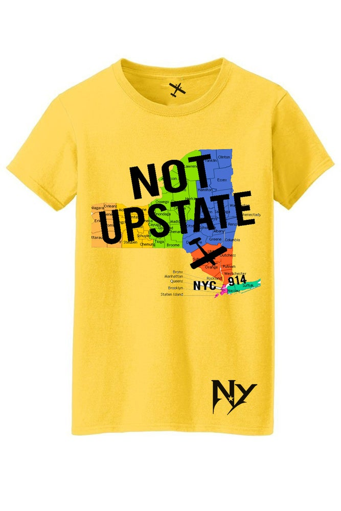 """Image of EXCLUSIVE 914 """"NOT UPSTATE"""" TEE WHITE AND YELLOW"""