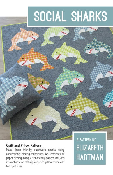 Image of SOCIAL SHARKS pdf quilt and pillow pattern
