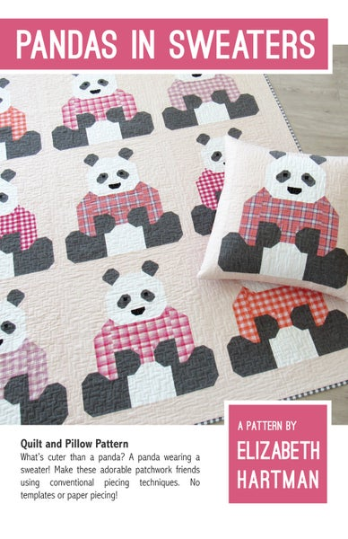 Image of PANDAS IN SWEATERS pdf quilt and pillow pattern