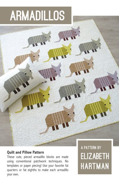 Image of ARMADILLOS pdf quilt and pillow pattern