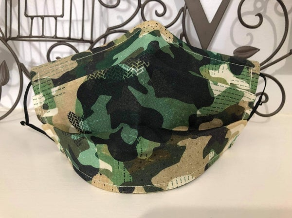 Image of Army/Camouflage 3ply Cotton Face Mask.