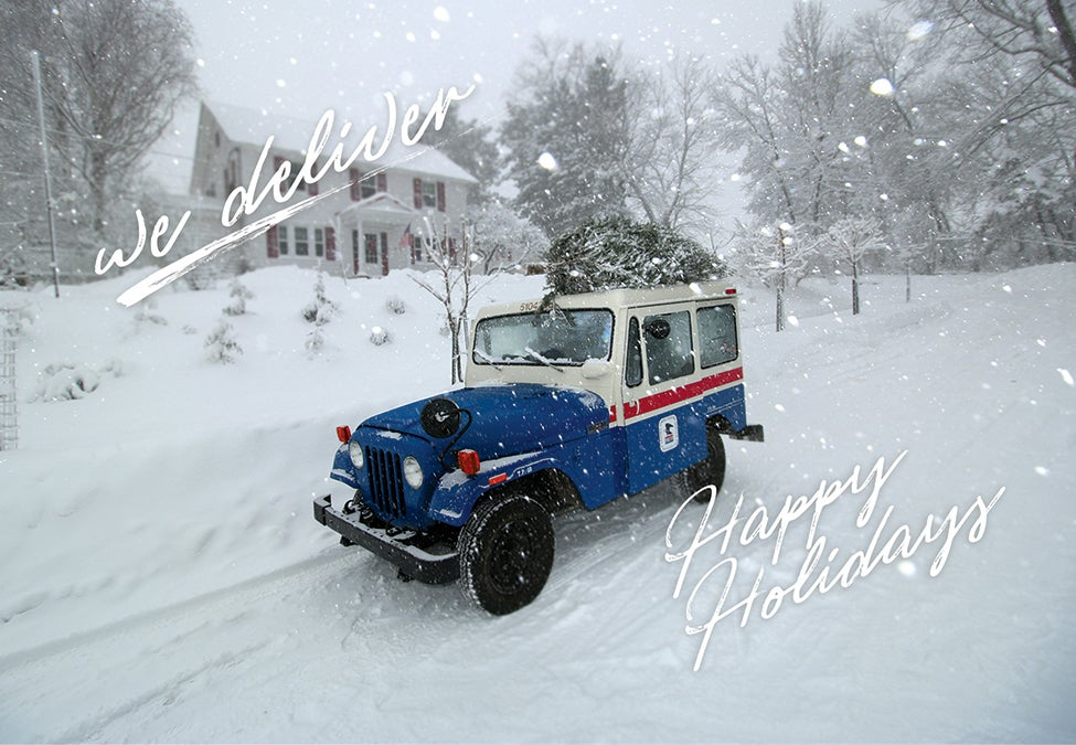 """Image of NEW! """"We Deliver"""" Mail Truck Postcard"""