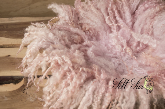 Image of Pink Curly Fringe Felted Napkin (C125), Newborn Photography Wool Prop. Size C. Ready to Ship.