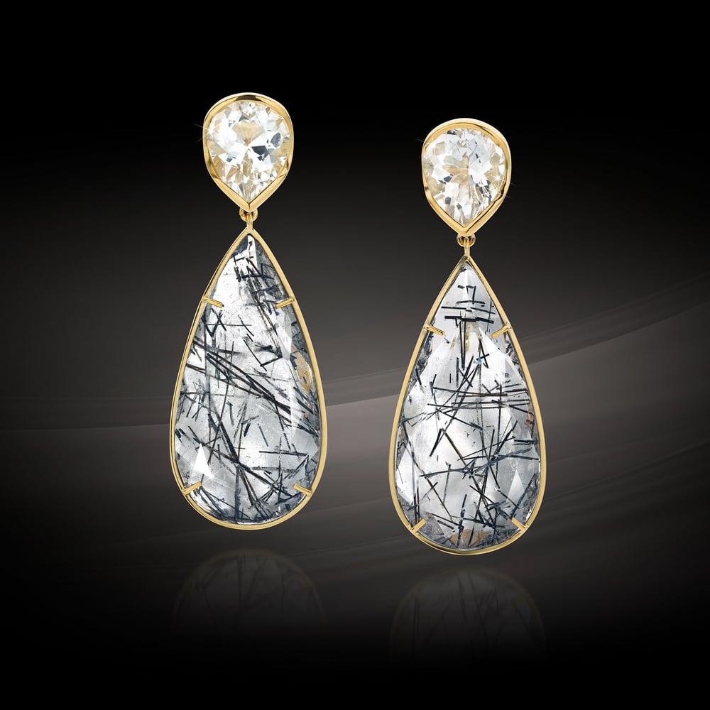 Image of oorjuwelen goud topaas toermalijnkwarts - earrings gold topaze tourmaline quartz