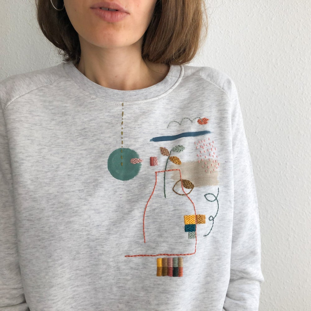 Image of In and out pullover - original hand embroidery on 100% organic cotton sweatshirt, one of a kind