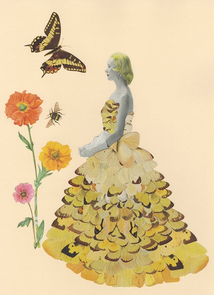 Image of Float like a butterfly, sting like a bee. Original paper collage.