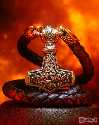 Image of Thor's Hammer : MJOLNIR + Luxury Leather Necklace