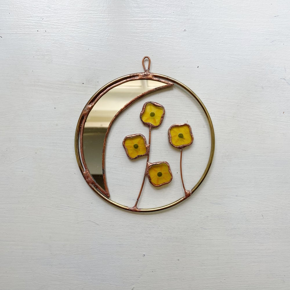 Image of Moon with Yellow Flowers Wreath