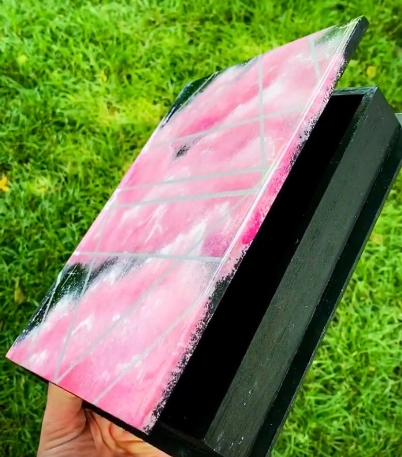 Image of Cotton Candy Sky Book Box- Hand Painted/Heavily Glossed