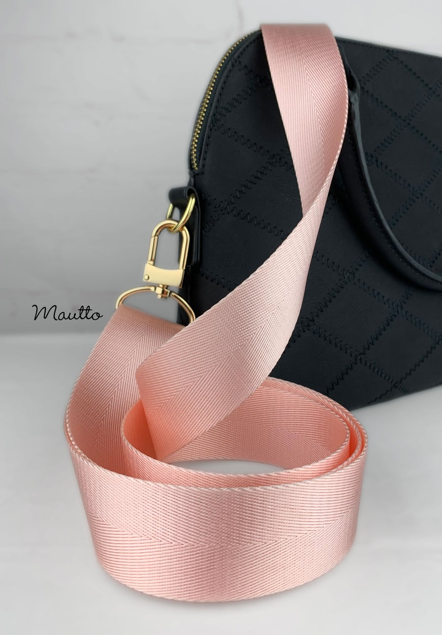 """Image of Light Pink Adjustable Strap for Bags - Luxurious Satin Nylon, 1.5"""" Wide - U Shape Style #16XLG Hooks"""