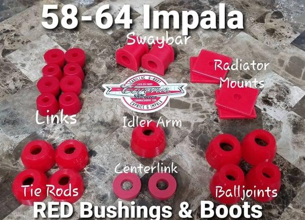 Image of 1958-1964 IMPALA RED BUSHINGS & BOOTS
