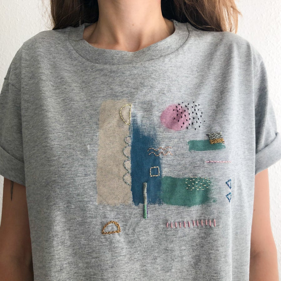 Image of Trust your curiosity -intuitive hand embroidery and painting on organic cotton tshirt, one of a kind