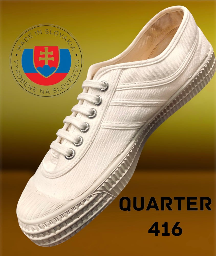 Image of VEGANCRAFT white canvas plimsoll shoes made in Slovakia