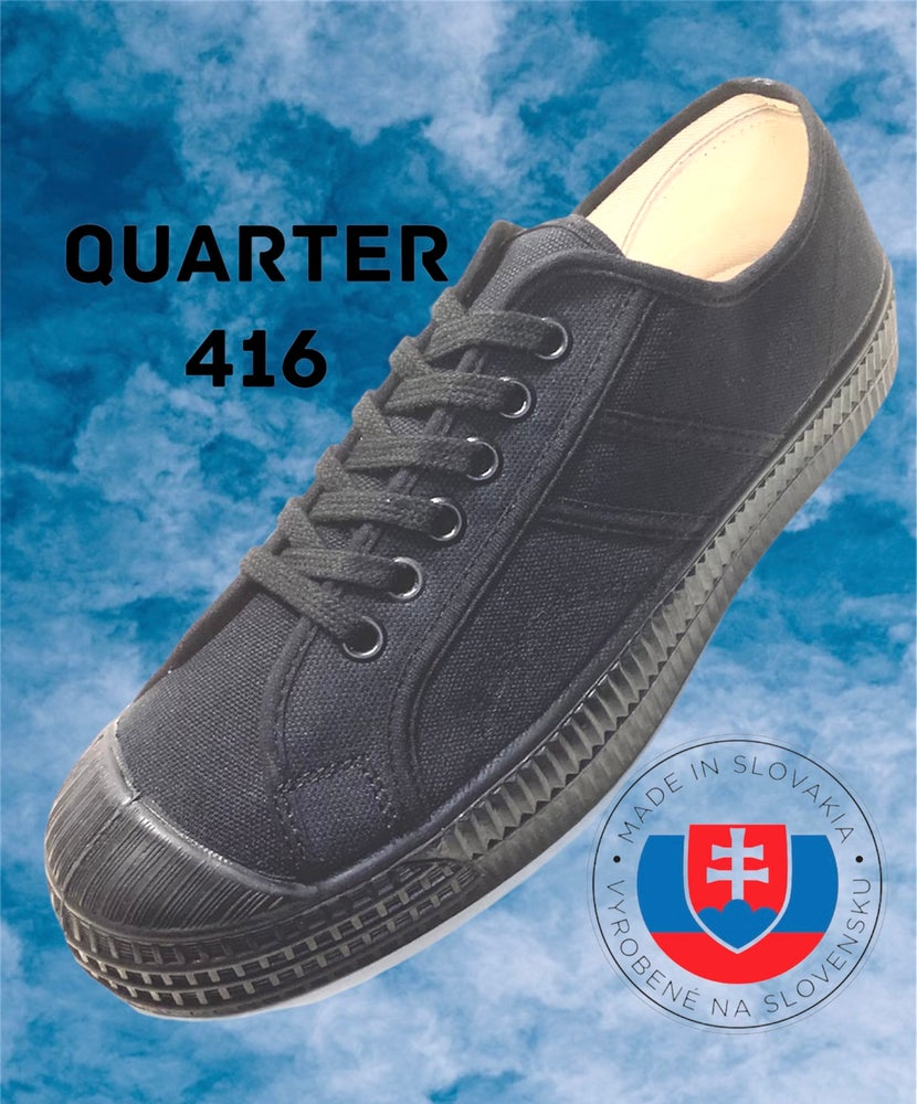 Image of VEGANCRAFT all black canvas military sneaker shoes made in Slovakia