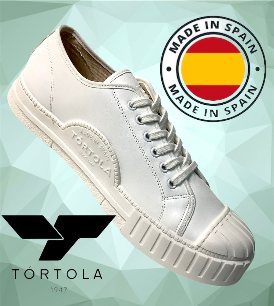 Image of Tortola leather lo top white sneaker shoes made in Spain