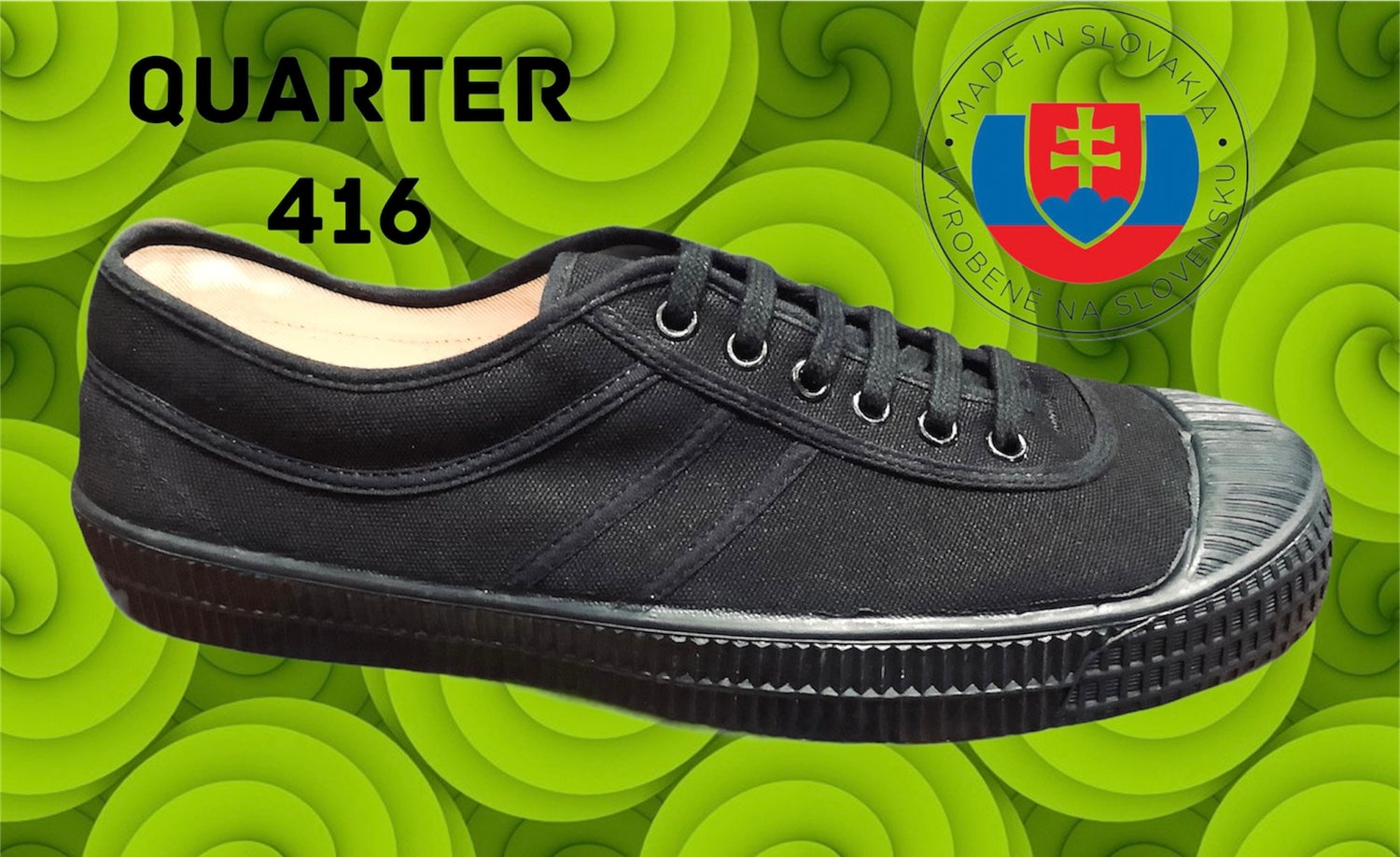 Image of VEGANCRAFT canvas all black plimsoll shoes made in Slovakia