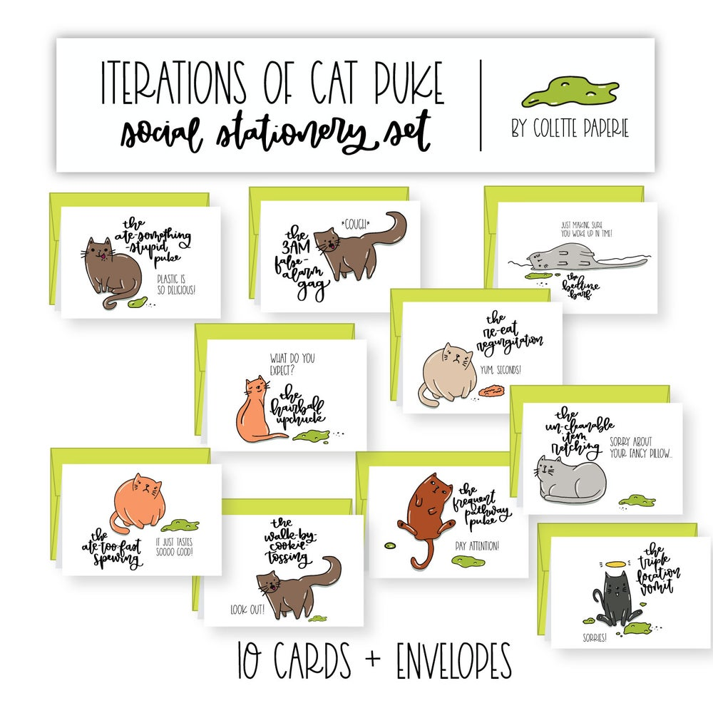 Image of Iterations of Cat Puke - Social Stationery Set