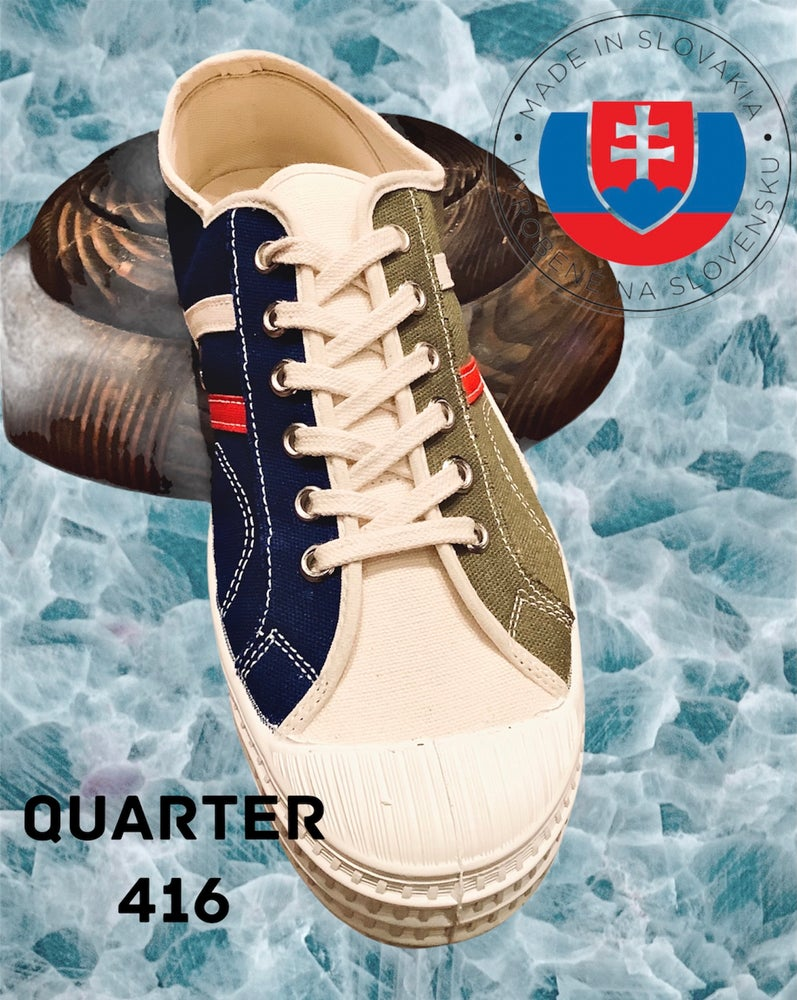 Image of VEGANCRAFT tricolour canvas lo top sneaker shoes made in Slovakia