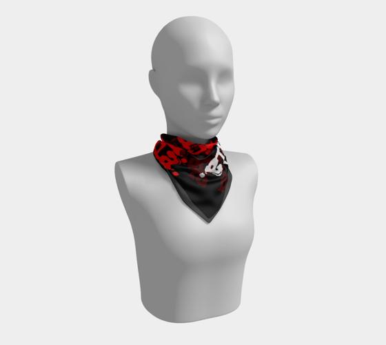 "Image of ""Soraia"" Red/White Repeat Logo Bandana"