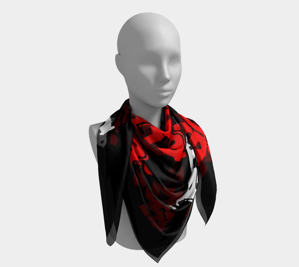 "Image of ""Soraia"" Red/White Repeat Logo Silk Scarf"