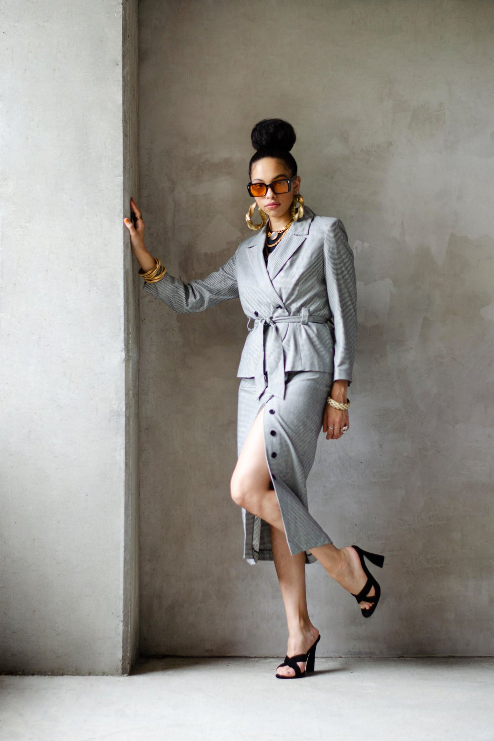 Image of Vintage Elaina Double Breasted Belted Skirt Suit