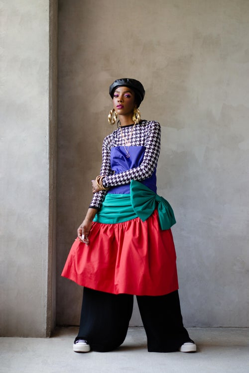 Image of Vintage 1980's Saks Fifth Ave Color Block Bow Dress