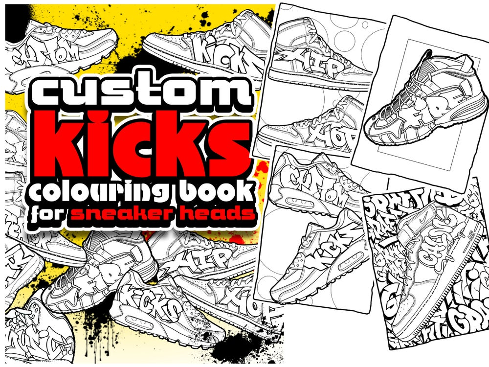 Image of GRAFFITI COLOURING BOOK CUSTOM SNEAKERS TRAINERS