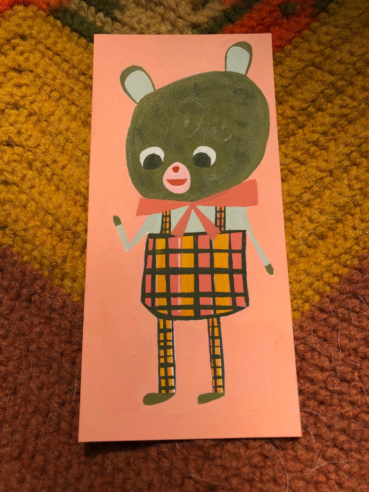 Image of A bear in overalls. Original gouache painting.