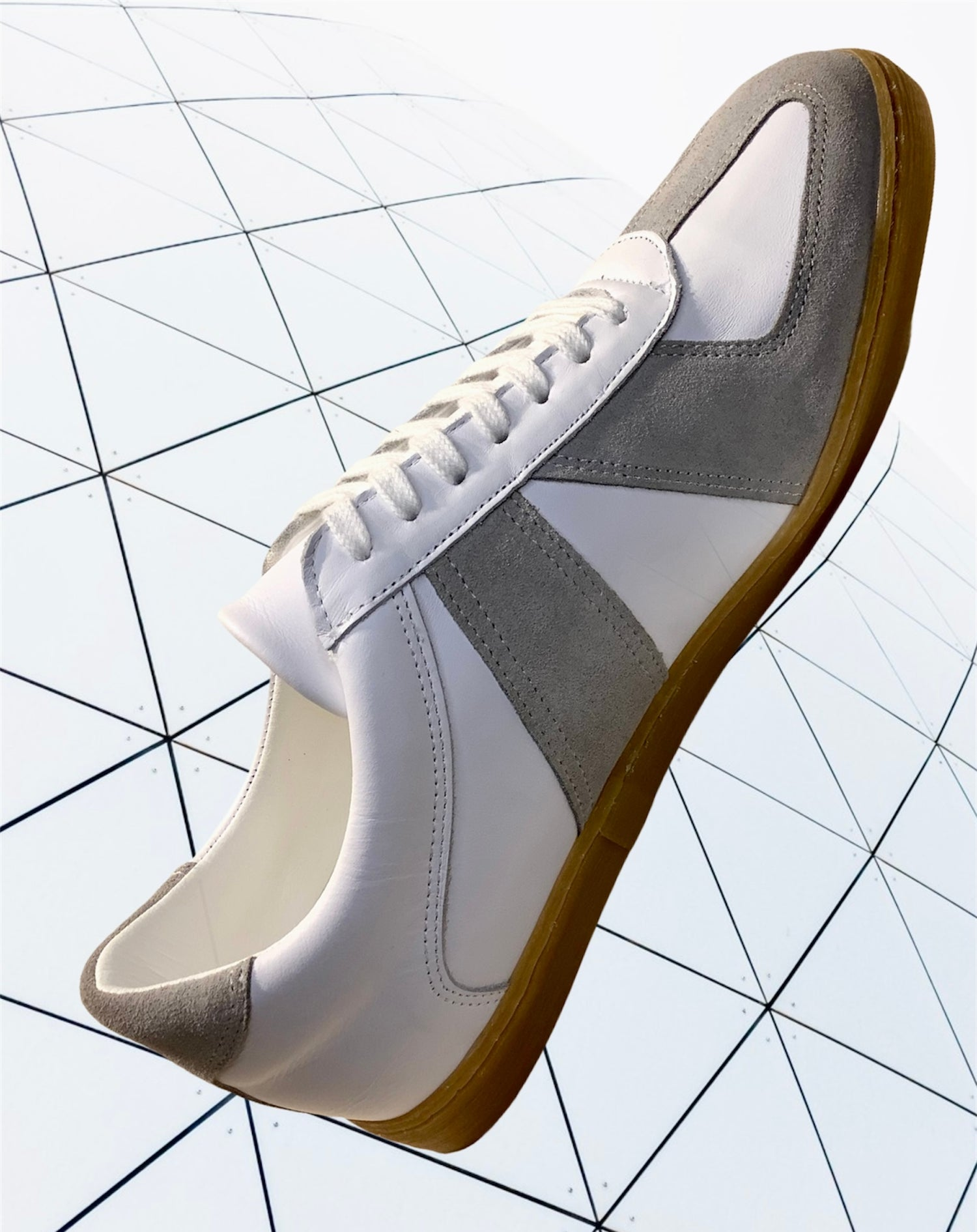 Image of Tortola white full grain leather German army trainer shoes made in Spain
