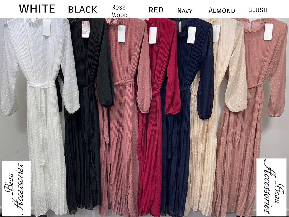Image of Swiss Dott Pleated Maxi Dress (all colours)