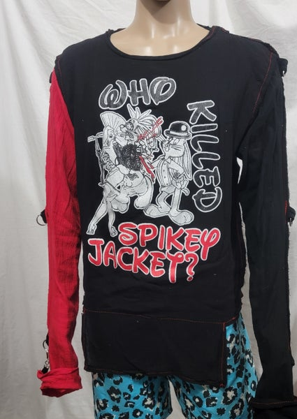 Image of Who killed spikey jacket black bondage shirt size Large