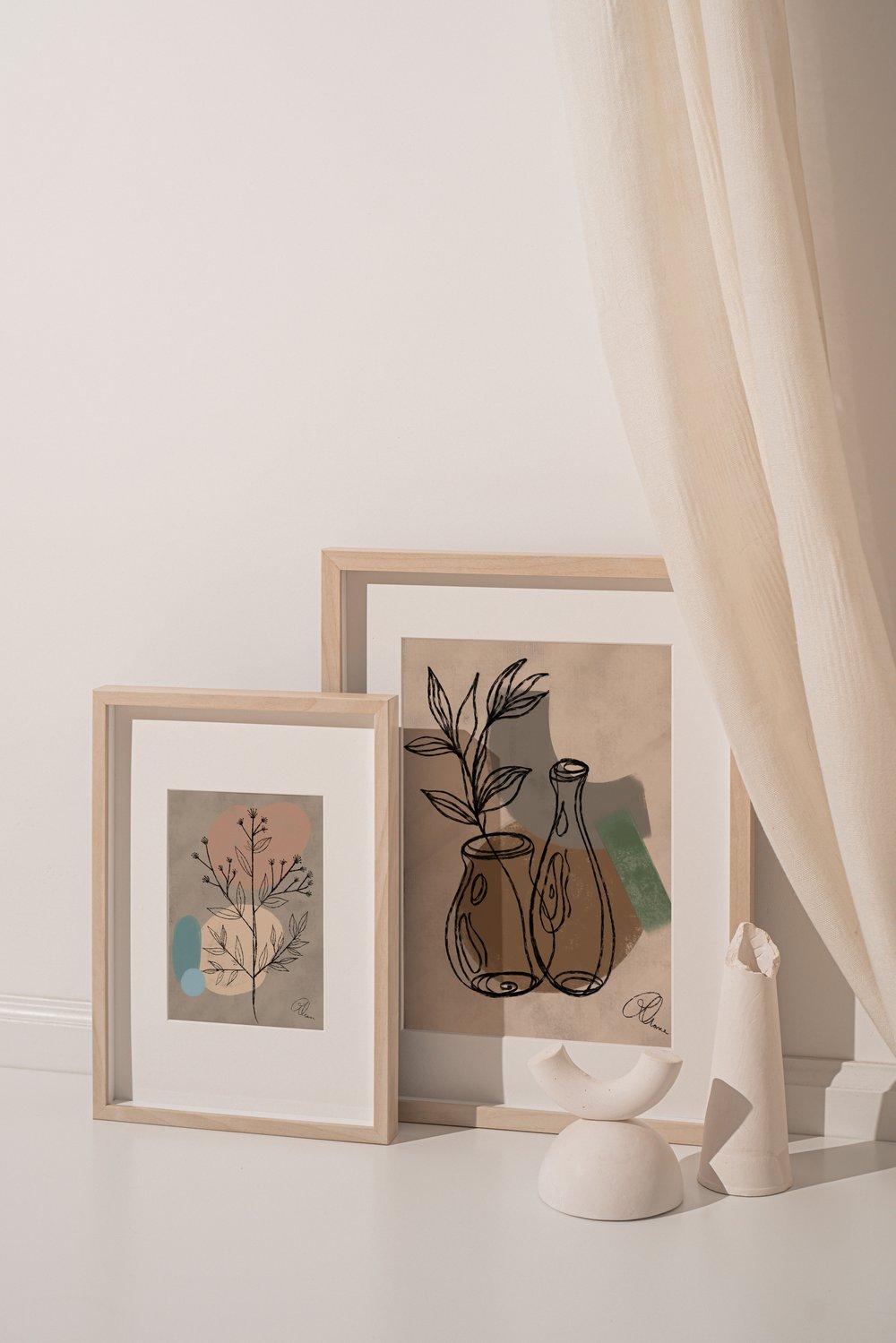 Image of Minimalist Floral Canvas Paintings