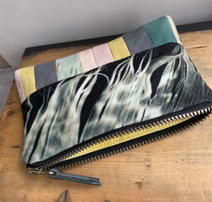 Image of Feather fringe, printed and plant-dyed zipper bag