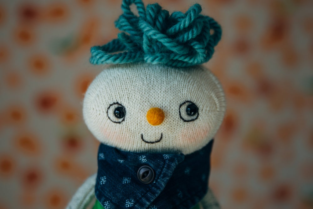 Image of Ned - Wool Filled Weighted Sock Doll with removable overalls