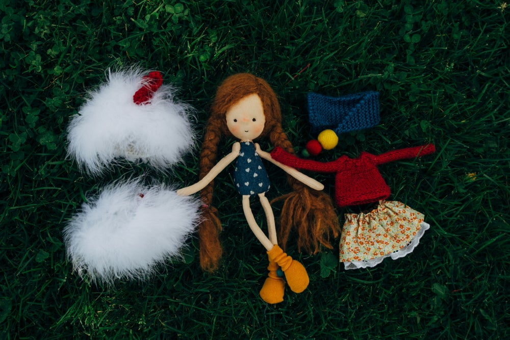 Image of Petra - Wool filled weighted mini waldorf inspired Girl doll