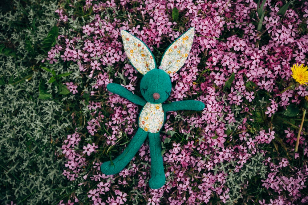Image of Luna - Wool Filled Weighted Re-purposed felted sweater Bunny Rabbit doll