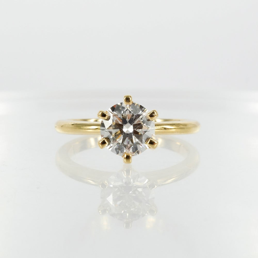 Image of Gorgeous 18ct yellow gold 1.01ct GSI1 XXX diamond solitaire engagement ring. PJ5798